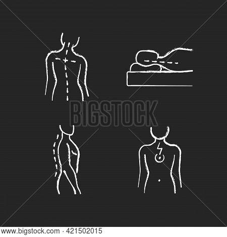 Postural Dysfunction Chalk White Icons Set On Black Background. Head Tilt. Incorrect Sleeping Positi