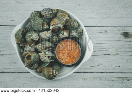 Spotted Babylon Sea Shell Limpet With Spicy Seafood Dipping, Favorite Appetizer Seafood In Thailand