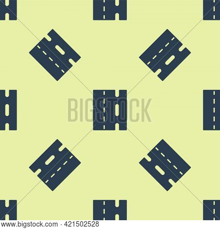 Blue Special Bicycle Ride On The Bicycle Lane Icon Isolated Seamless Pattern On Yellow Background. V