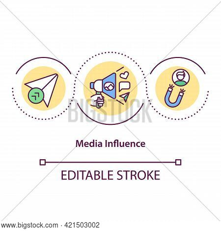 Media Influence Concept Icon. Online Promotion, Digital Marketing. Engaging Content, Smm. Personal B