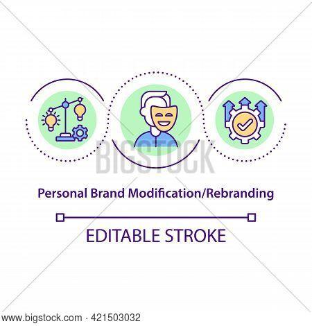 Personal Brand Modification Concept Icon. Platform Upgrade, Internet Presence. Business Rebranding I
