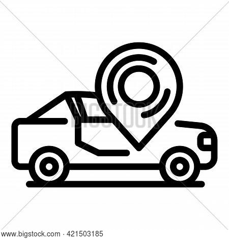 Sensor Driving Car Icon. Outline Sensor Driving Car Vector Icon For Web Design Isolated On White Bac