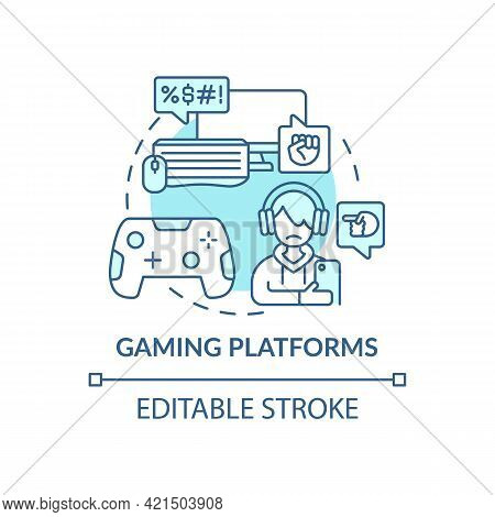 Gaming Platforms Concept Icon. Cyberbullying Channel Idea Thin Line Illustration. Harassing Players
