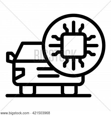 Microchip Car Icon. Outline Microchip Car Vector Icon For Web Design Isolated On White Background