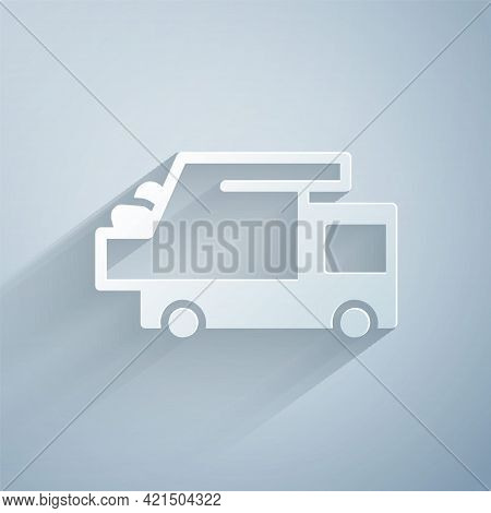 Paper Cut Garbage Truck Icon Isolated On Grey Background. Paper Art Style. Vector