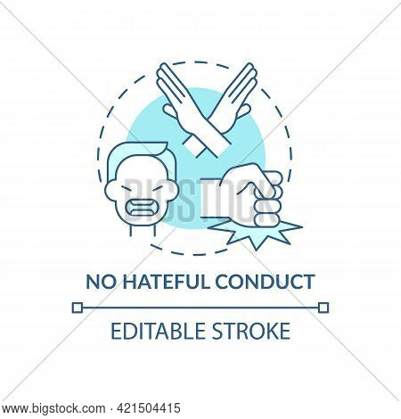No Hateful Conduct Concept Icon. Social Media Safety Idea Thin Line Illustration. Fighting With Disc