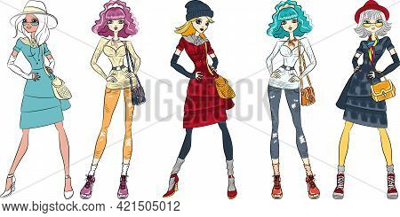 Vector Aet Of Beautiful Fashion Hipster Girls Top Models In Jeans, Shirt, Boots With Bags
