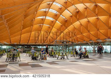 Split, Croatia - September 12, 2019: Interior of the new terminal of Split Airport.