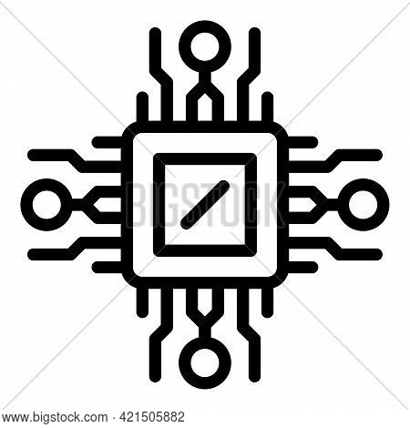 Laptop Microchip Icon. Outline Laptop Microchip Vector Icon For Web Design Isolated On White Backgro