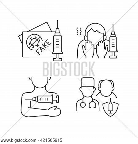Vaccine Inoculation Linear Icons Set. Fake Vaccinated Tourist Passport. Fear Of Needle. Priority Lis