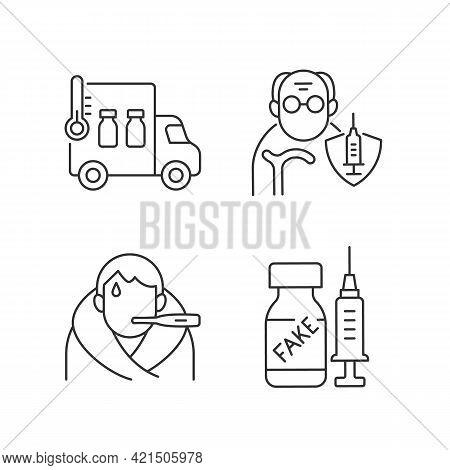 Covid Spread Prevention Linear Icons Set. Vaccine Distribution. Senior Patient Immunization. Customi