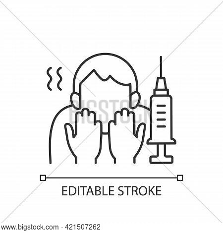 Fear Of Vaccination Linear Icon. Phobia Of Injection. Afraid Of Syringe Needles. Health Problem. Thi