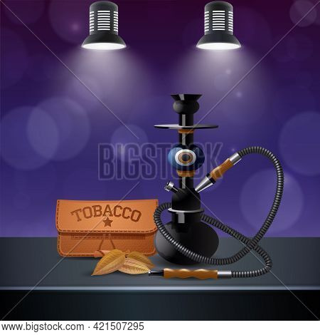 Realistic Colored Tobacco Composition With Hookah And Tobacco On The Table Next Vector Illustration