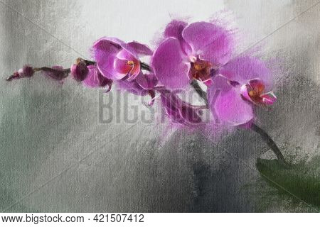 Abstract Impressionism. Orchids. Modern Painting.  Hand-drawn Illustration.