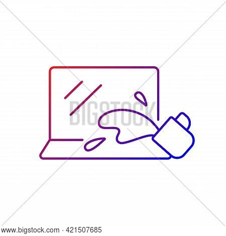 Water Damage Gradient Linear Vector Icon. Drink Spilled On Keyboard. Accident With Electronics. Liqu