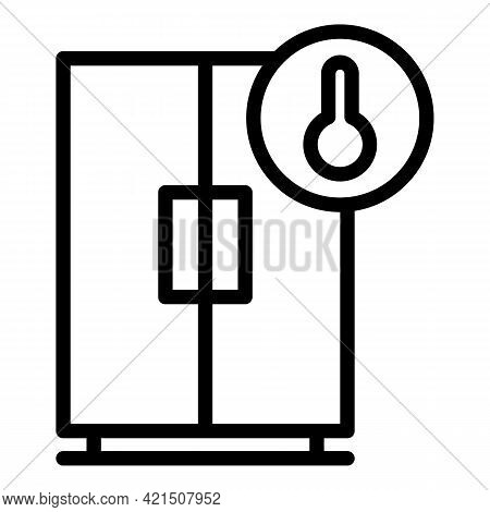 Temperature Fridge Icon. Outline Temperature Fridge Vector Icon For Web Design Isolated On White Bac