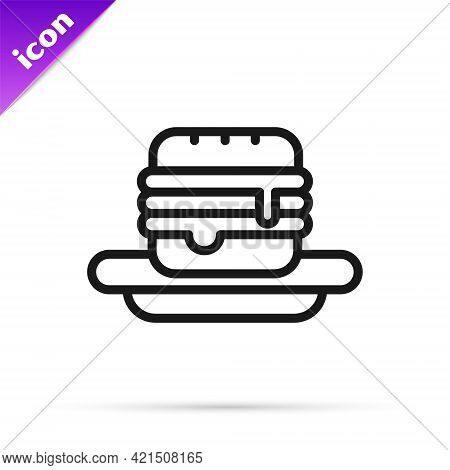 Black Line Junk Food Icon Isolated On White Background. Prohibited Hot Dog. No Fast Food Sign. Vecto