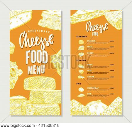 Vintage Cheese Restaurant Menu Template With Hand Drawn Products Of Different Sorts And Varieties Ve