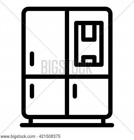 Modern Fridge Icon. Outline Modern Fridge Vector Icon For Web Design Isolated On White Background