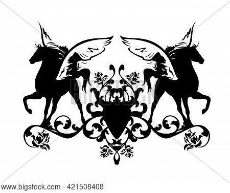 Two Pegasus Horses And Rose Flowers Heraldic Decor - Pair Of Winged Stallions Black And White Vector