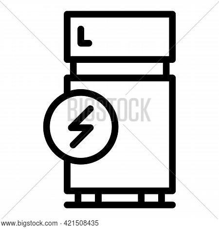 Energy Fridge Icon. Outline Energy Fridge Vector Icon For Web Design Isolated On White Background