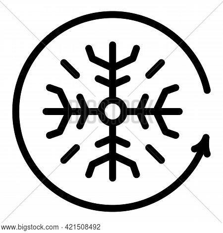 Fridge Snowflake Icon. Outline Fridge Snowflake Vector Icon For Web Design Isolated On White Backgro