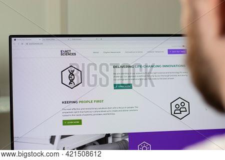 New York, Usa - 1 May 2021: Exact Sciences Corporation Company Website On Screen, Illustrative Edito
