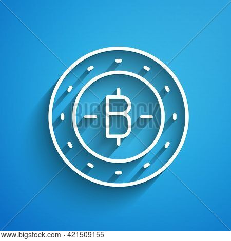 White Line Cryptocurrency Coin Bitcoin Icon Isolated On Blue Background. Physical Bit Coin. Blockcha