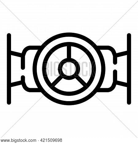 Wheel Water Tap Icon. Outline Wheel Water Tap Vector Icon For Web Design Isolated On White Backgroun