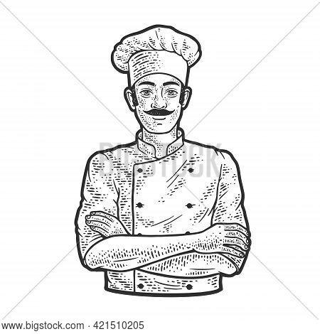 Chef Man In Chef Hat Toque Line Art Sketch Engraving Vector Illustration. T-shirt Apparel Print Desi