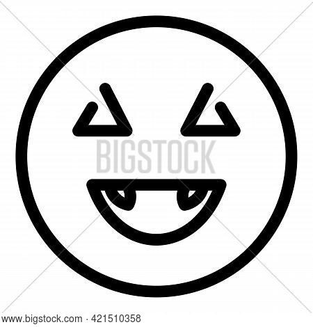 Laugh Face Icon. Outline Laugh Face Vector Icon For Web Design Isolated On White Background