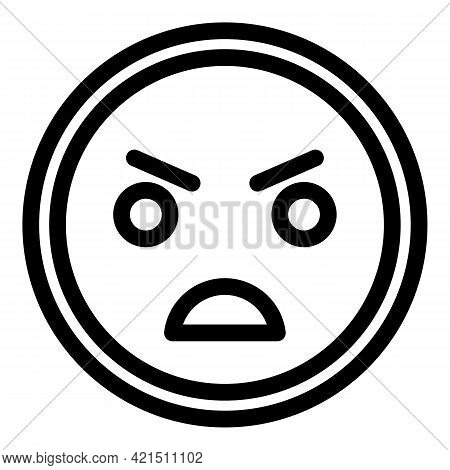 Furious Smile Icon. Outline Furious Smile Vector Icon For Web Design Isolated On White Background