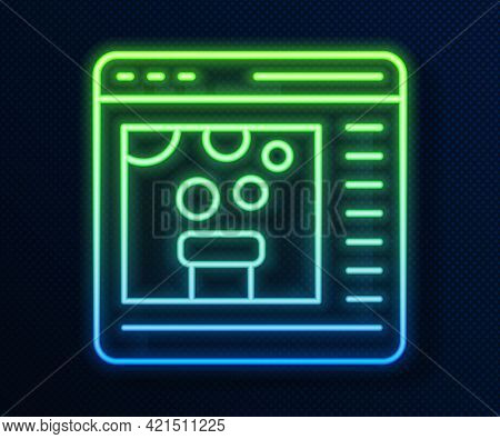 Glowing Neon Line Chemical Experiment Online Icon Isolated On Blue Background. Scientific Experiment