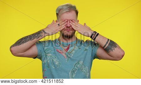 Dont Want To Look At This, Awful. Tourist Guy In T-shirt Closing Eyes With Hand Showing Stop Gesture
