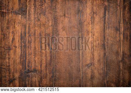 Wood Texture Background, Dark Wood Board Kitchen Table. Wood Plank Texture
