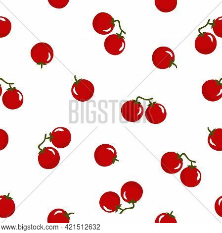 Seamless Pattern With Red Cherry Tomatoes On White Background. Vector Illustration. Nature Bright Ve