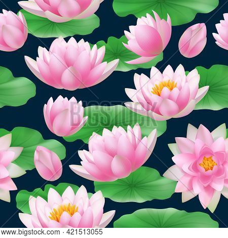 Lotus Seamless Pattern. Colored Tropical Nature Flowers Lotus Buds With Leaves Decent Vector Realist