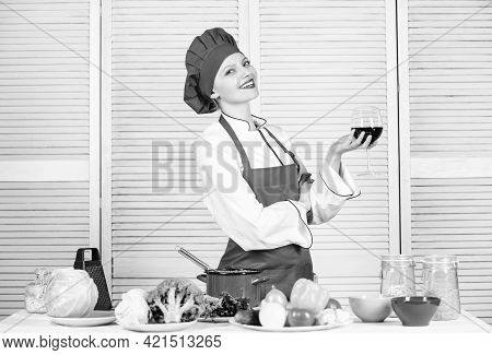 Housekeeping And Culinary. Housewife Prepare Meal With Wine. Housewife Daily Routine. Girl Adorable