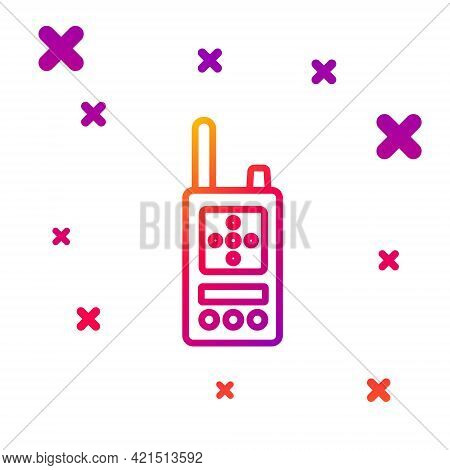 Color Line Walkie Talkie Icon Isolated On White Background. Portable Radio Transmitter Icon. Radio T