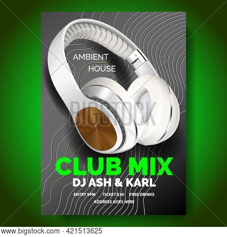 Club Poster With Headphones, Dance Party, Fluid Design Flyer, Invitation, Banner Template, Dj Music