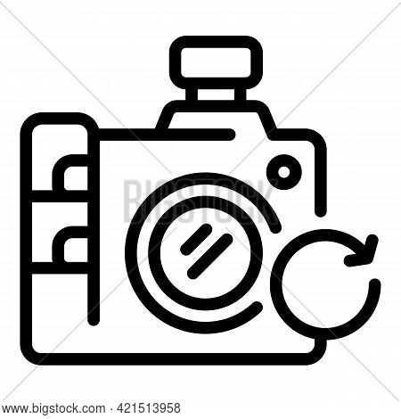 Camera Update Icon. Outline Camera Update Vector Icon For Web Design Isolated On White Background