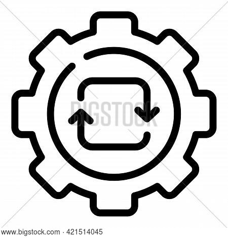 Gear Update Icon. Outline Gear Update Vector Icon For Web Design Isolated On White Background