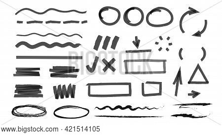 Markers Line And Tick Marks. Pencil, Highlighter Elements. Drawing Business Charts Vector Elements,