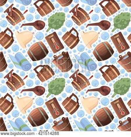 Sauna Seamless. Spa Relax Russian Sauna Items Textile Design Objects Garish Vector Pattern In Cartoo
