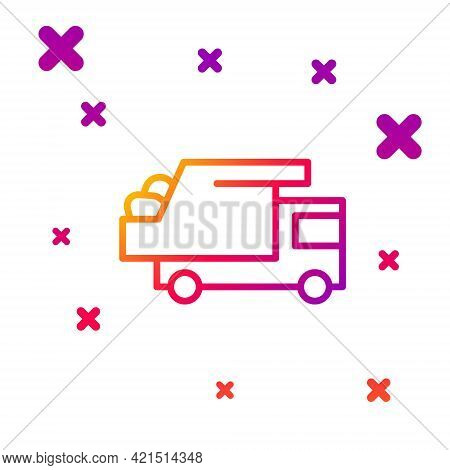 Color Line Garbage Truck Icon Isolated On White Background. Gradient Random Dynamic Shapes. Vector