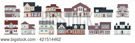 Set Of Residential Buildings. Collection Of Exteriors Of Cottages, Townhouses, Apartments, Roofs, Fa