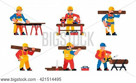 Carpenters Workers Set. Male Carpenters With Saw, Board, Chainsaw, Hammer, Tools. Vector Illustratio