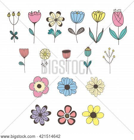 Vector Set Of Isolated Hand Drawn Flowers In Pastel Colors. For Invitations, Greeting Cards, Templat
