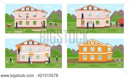 Group Of Professional Builders Is Constructing Modern Private Houses From Bricks And Wooden Boards O