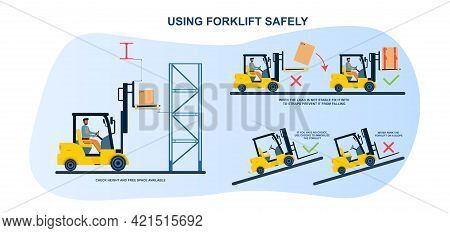 Male Worker Is Using Forklift According To Safety Rules In Warehouse. Concept Of Storehouse Guidance